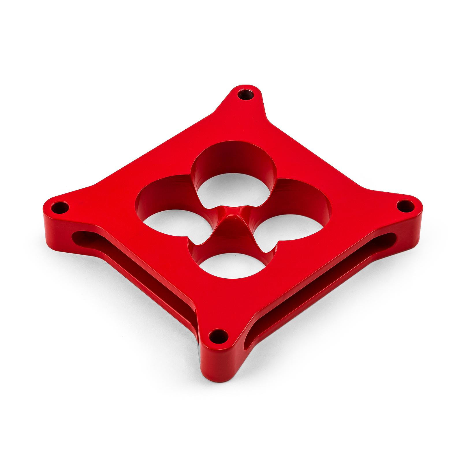 """1"""" Aluminum 4150 CNC Machined Carburetor Spacer Square Bore 4 Port - Red"""