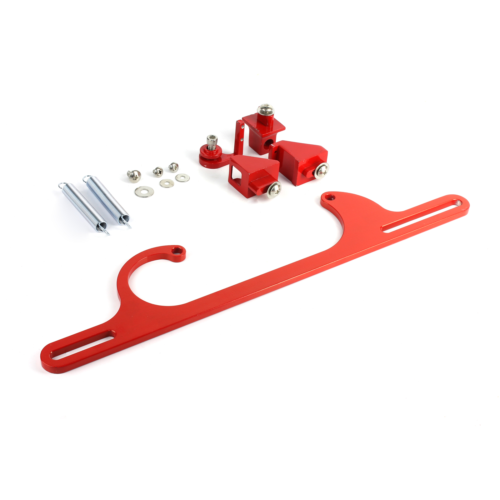 Carburetor Throttle Cable Bracket Kit w/ Return Springs - Billet Red