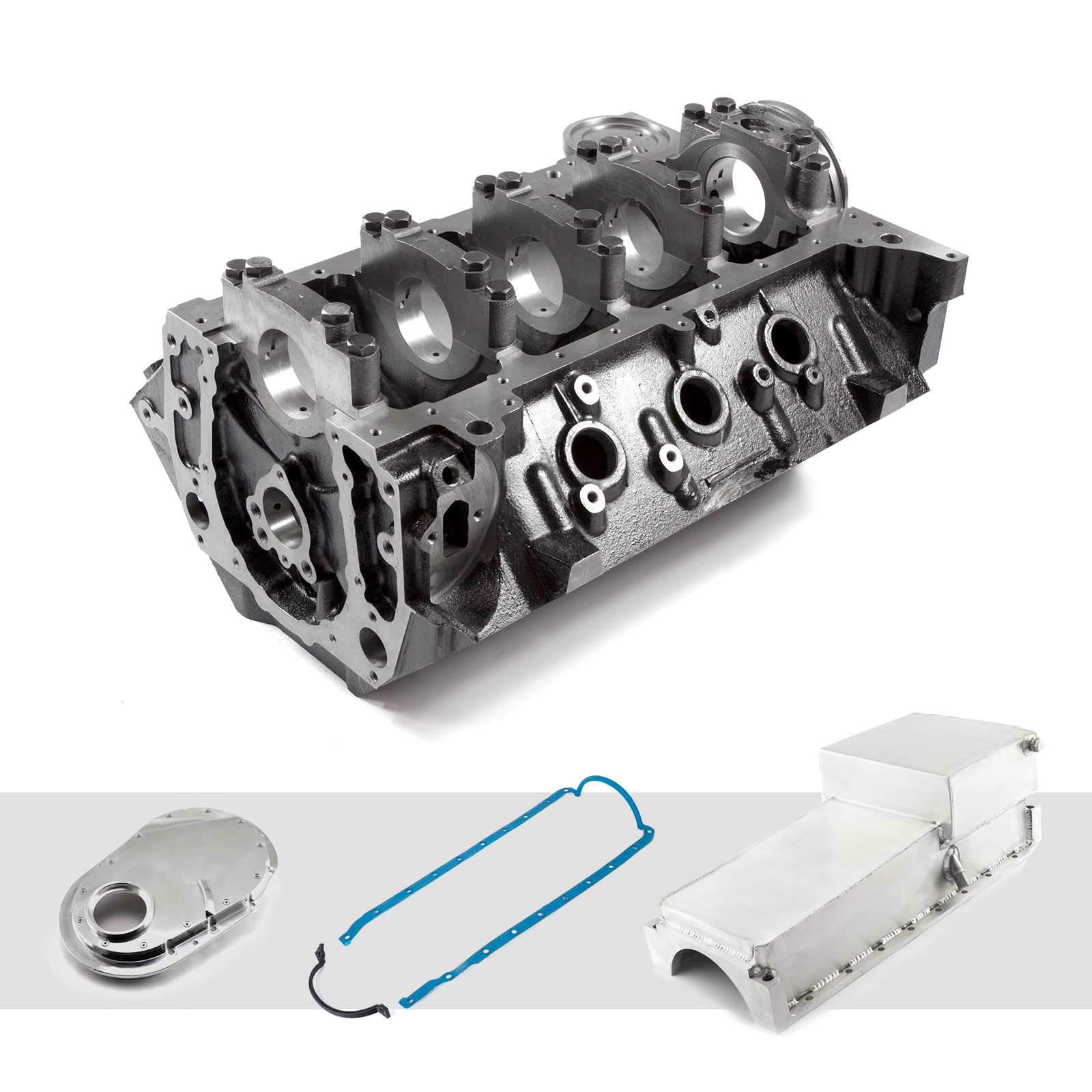 Chevy BBC 454 4-Bolt Billet Main Iron Engine Block Oil Pan & Timing Cover Kit