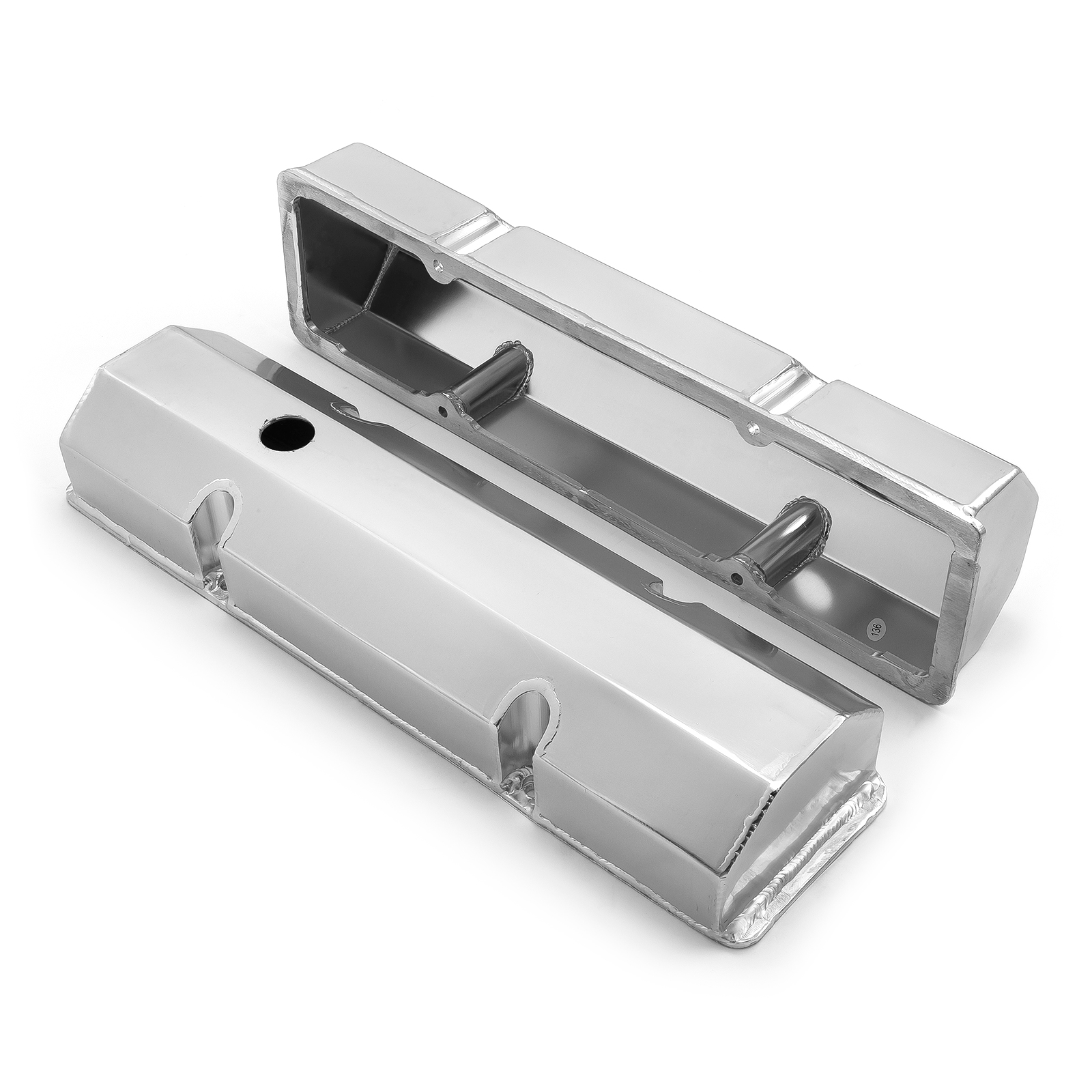 PCE® PCE314.1100.02 Chevy SBC 350 Fabricated Valve Covers Satin Tall w/ Hole