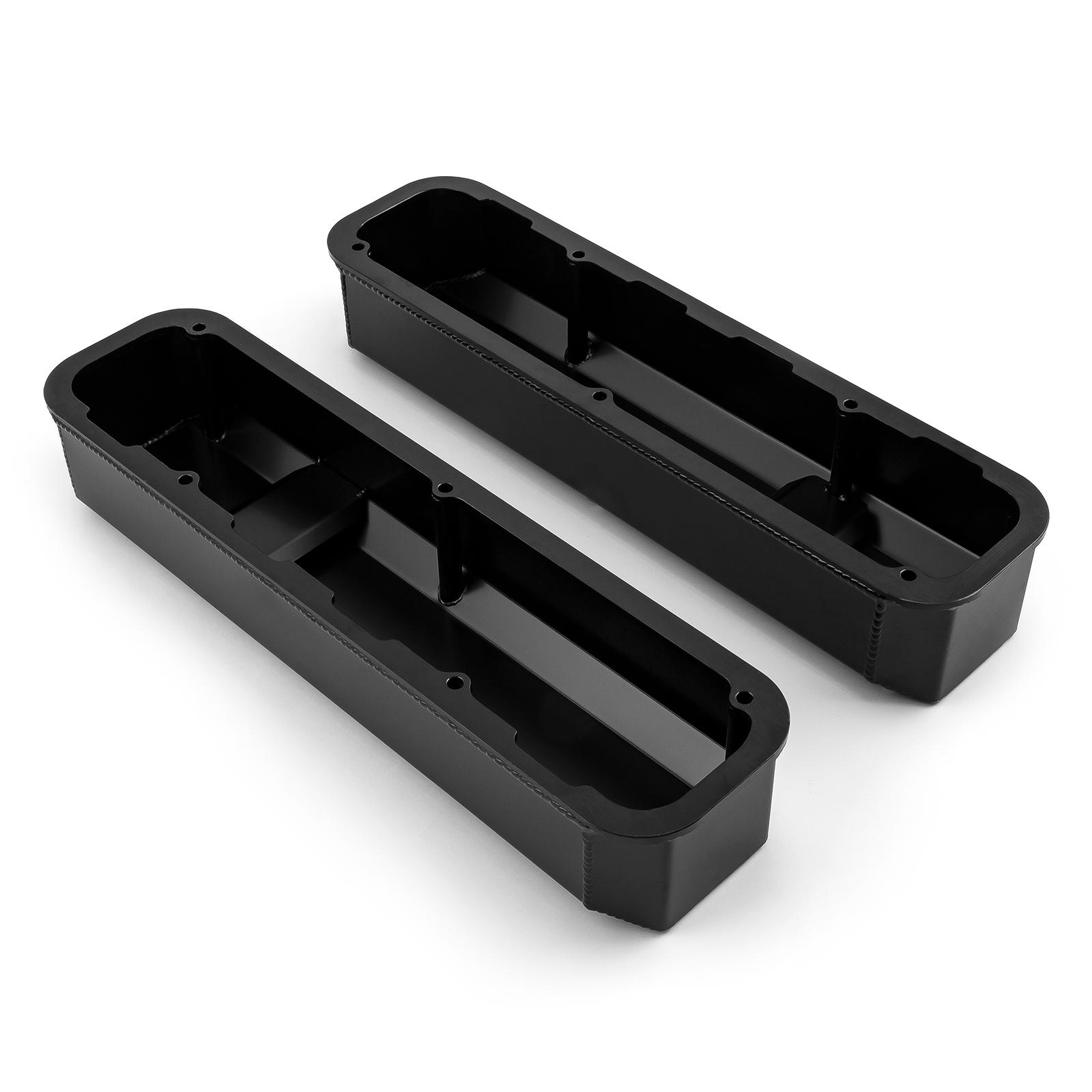 PCE® PCE314.1125.03 Mopar Chrysler SB 318 340 360 Fabricated Valve Covers Tall Black w/ Hole