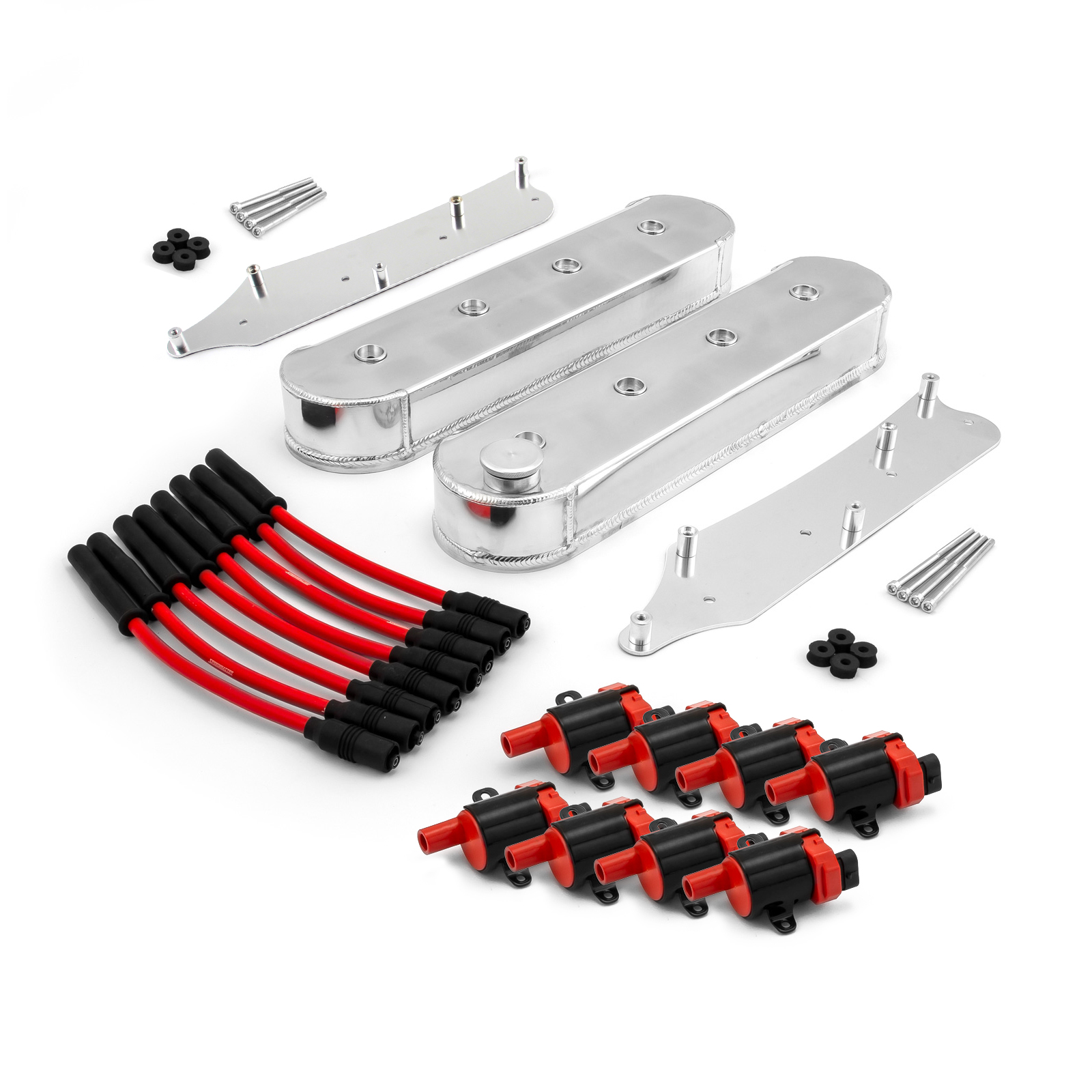 PCE® PCE314.1251 Chevy LS1 LS2 LS3 LS6 LS7 Fabricated Valve Covers Coil Packs Wire Combo Kit