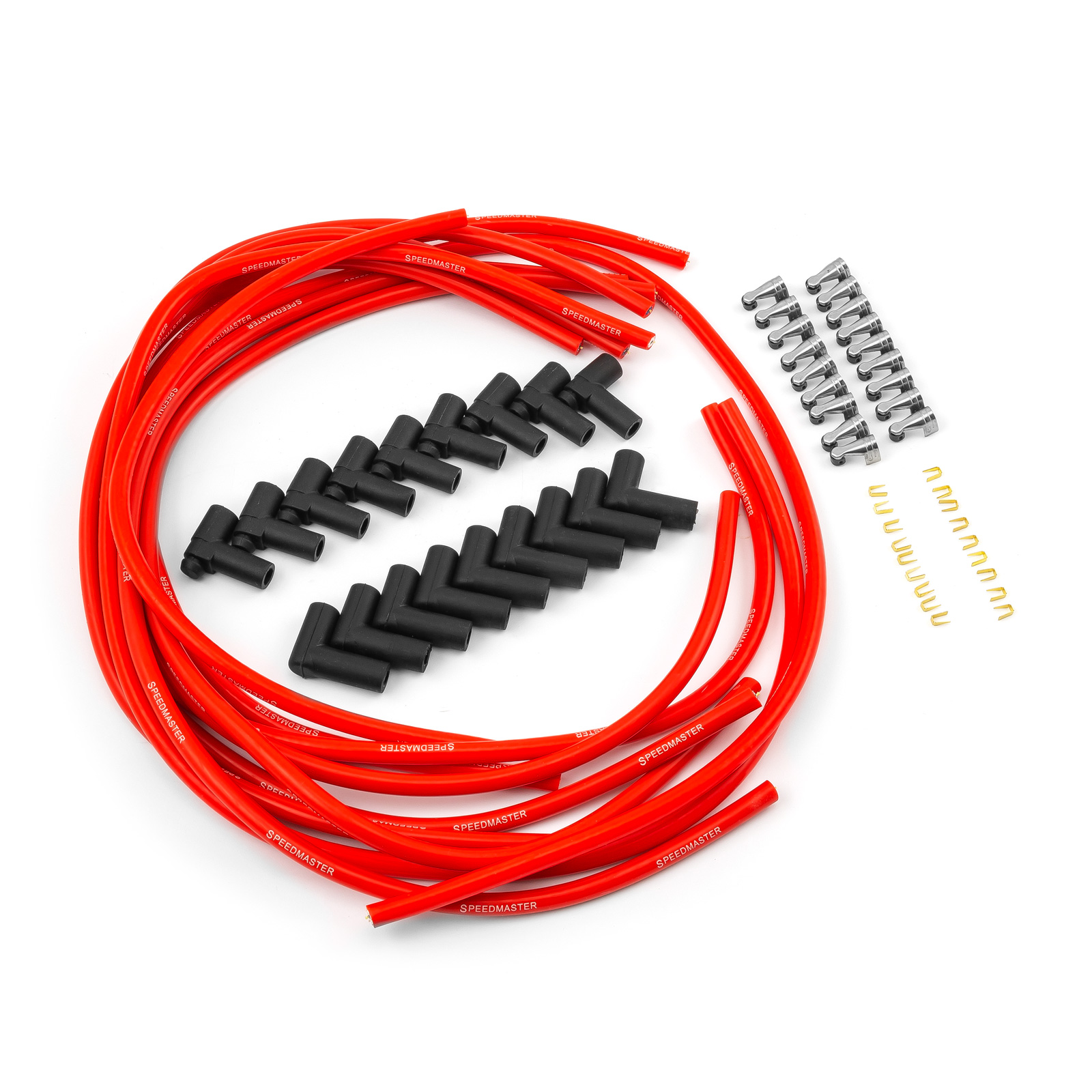 Speedmaster 90 Deg to 90 Deg Non Terminated Under Covers Male Red Spark Plug Wires - Chevy