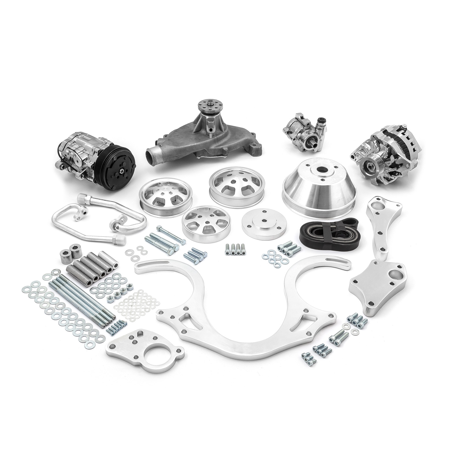 PCE® PCE415.1024 Chevy BBC 454 Aluminum Serpentine Complete Engine Pulley & Components Kit