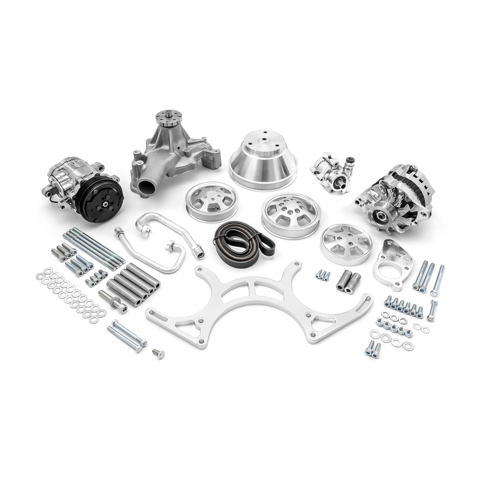 PCE® PCE415.1028 Chevy SBC 350 Aluminum Serpentine Complete Engine Pulley & Components Kit
