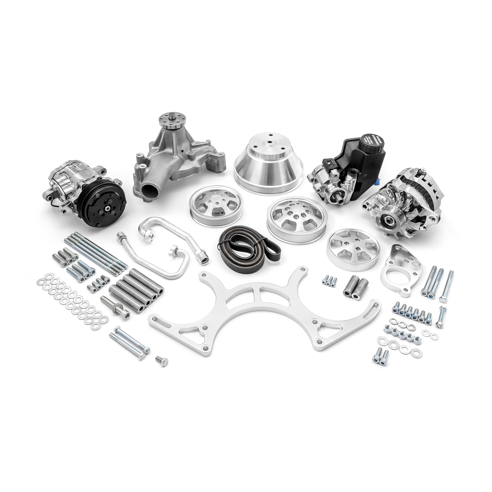 PCE® PCE415.1051 Chevy SBC 350 Aluminum Serpentine Complete Engine Pulley & Components Kit