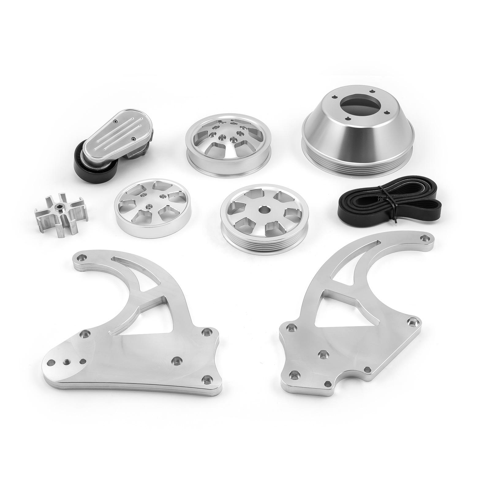 PCE® PCE415.1052 Chevy GM LS1 LS2 LS3 LS6 Billet Aluminum Serpentine Pulley Set & Components Kit
