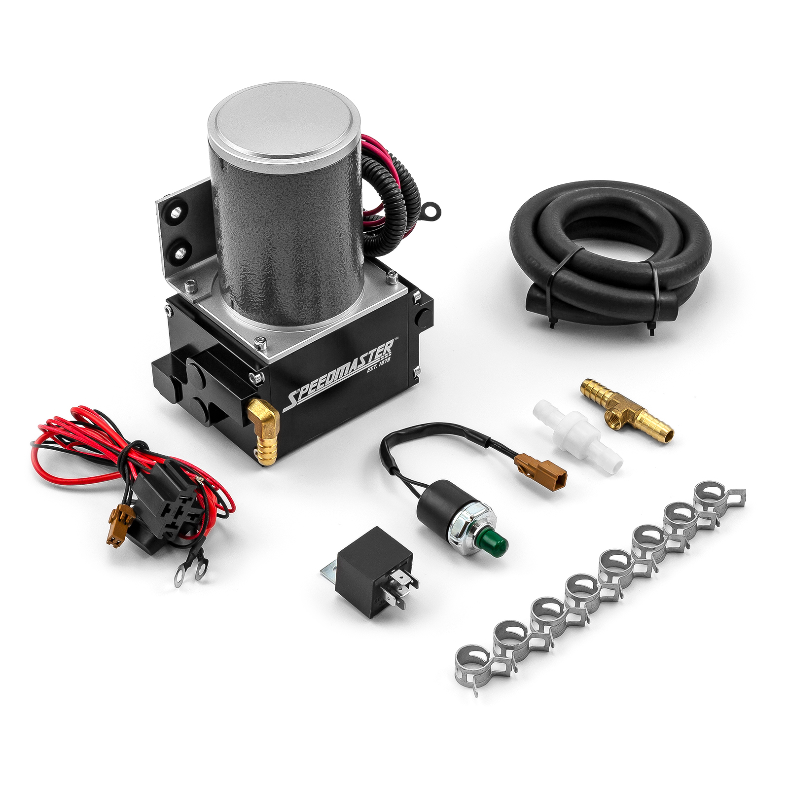 Universal Power Brake Booster 12V Electric Vacuum Pump Kit - Black