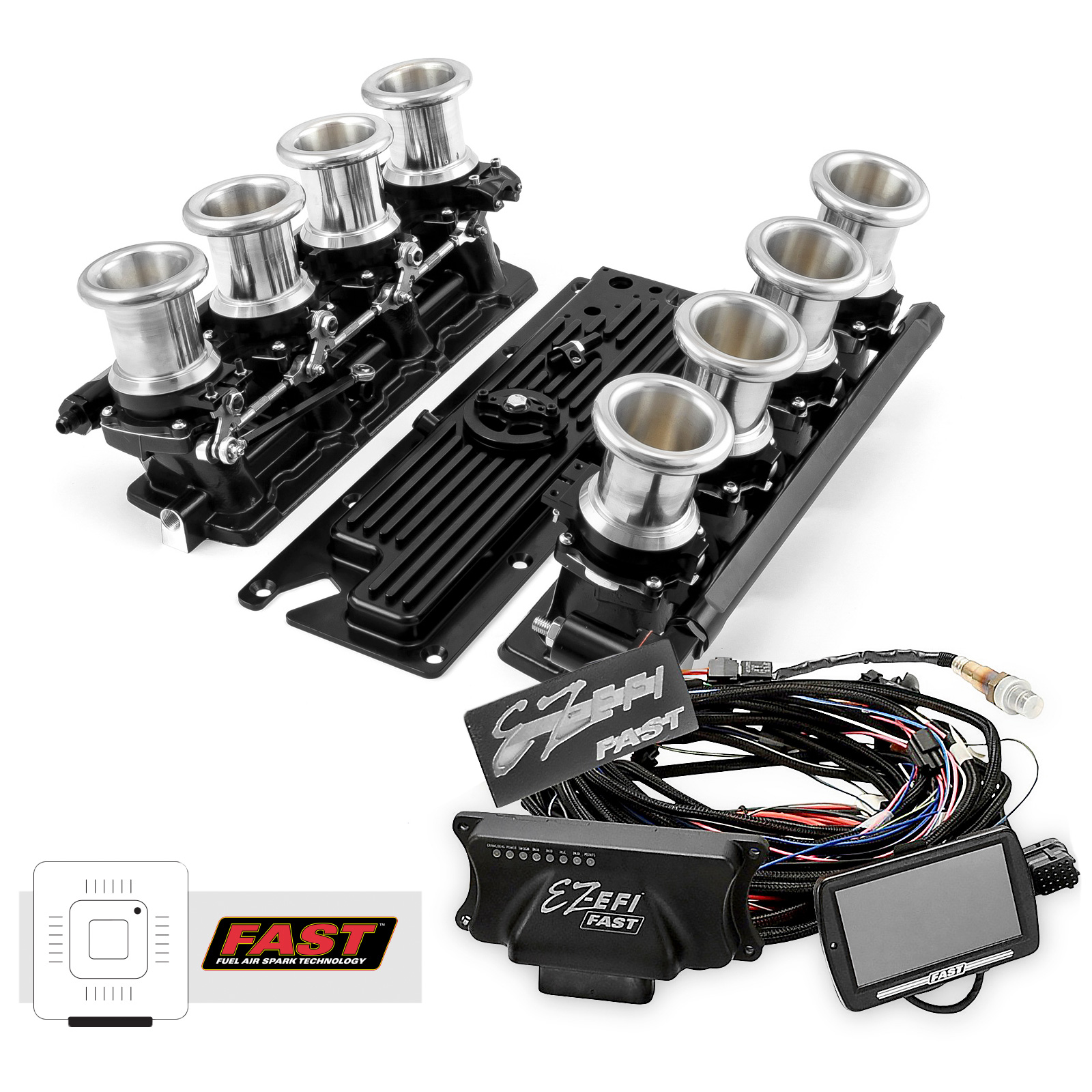 Chevy GM LS1 Downdraft + FAST EZ-EFI 2.0 Fuel Injection System - Black