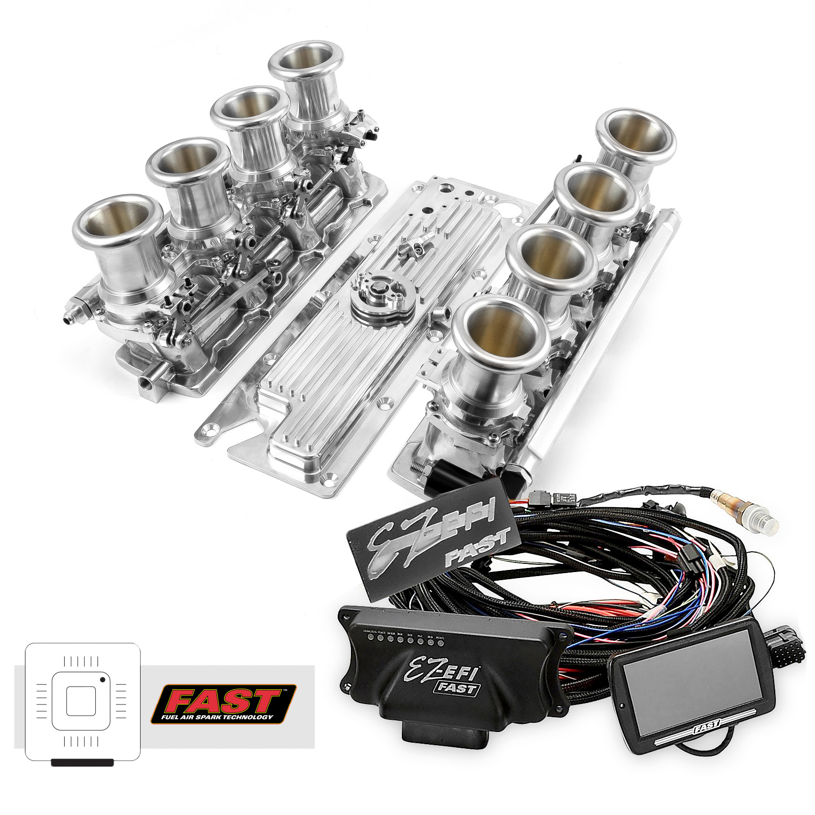 Chevy GM LS1 Downdraft + FAST EZ-EFI 2.0 Fuel Injection System - Polished