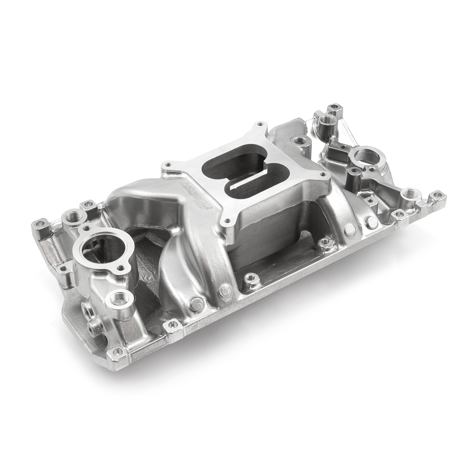 Chevy SBC 350 MidRise Air Vortec Intake Manifold Machine Polished