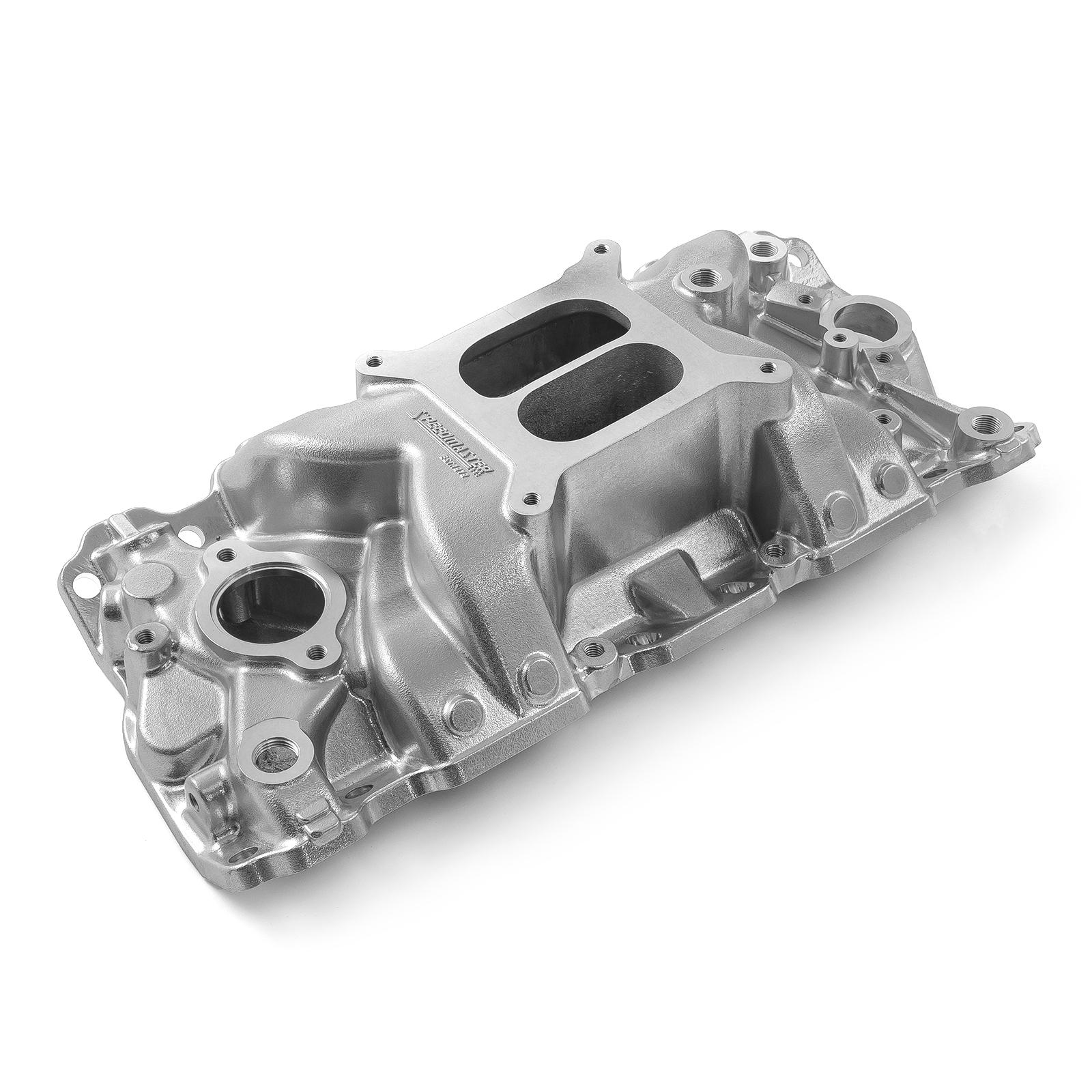 Chevy SBC 350 MidRise Aluminum Intake Manifold Machine Polished